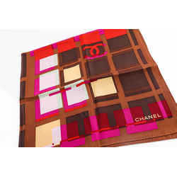 Chanel Multicolor Printed Silk Square Scarf