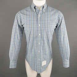 Thom Browne Size S Blue Plaid Cotton Long Sleeve Shirt