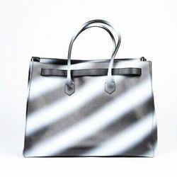Off-White Diag Spray Cut Flap XL Tote Bag Black White