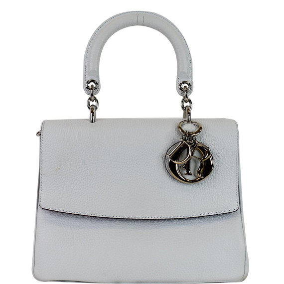 CHRISTIAN DIOR Be Dior Small Leather Flap Shoulder Bag Grey