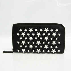Jimmy Choo CARNABY ENL Unisex Leather Studded Long Wallet (bi-fold) Bla BF527652