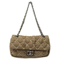 Chanel Military Green Quilted Nylon Medium Tweed on Stitch Bubble Flap Shoulder