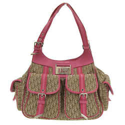 Auth Christian Dior Dior Street Chic Trotter Pattern Handbag Beige X Pink 13 Bm
