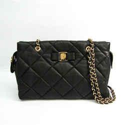 Salvatore Ferragamo Quilting AB-21 E743 Women's Leather Shoulder Bag Bl BF523650