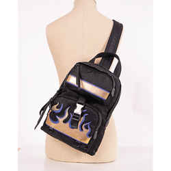 NEW $1680 PRADA Black Nylon Saffiano Leather FLAME Single Strap Sling BACKPACK