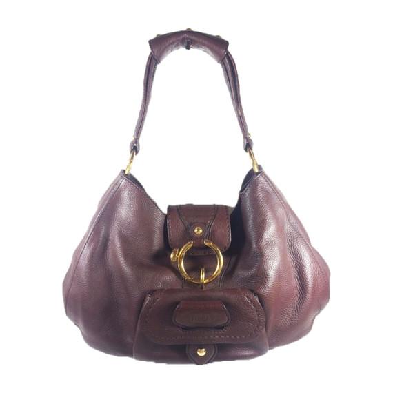 TOD's Brown Leather Hobo Shoulder Bag w/ Gold Hardware