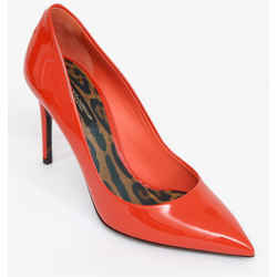 DOLCE & GABBANA Pump Orange Patent Leather 85mm Pointed Toe Leopard Sz 38 NIB