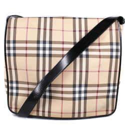 Burberry - Messenger Bag - Large Plaid Tan Fabric Black Leather Crossbody Flap