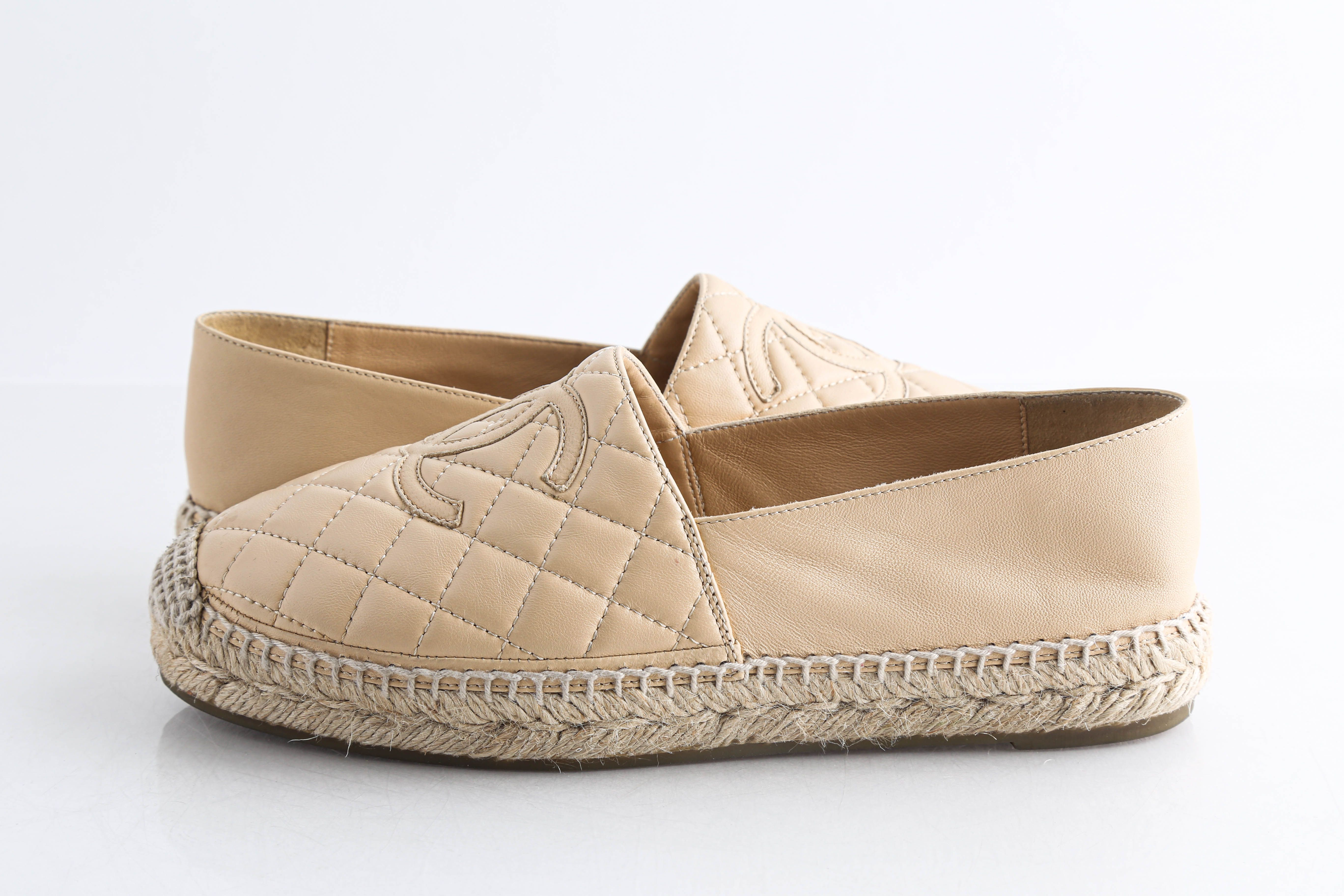 Chanel Lambskin Quilted CC Espadrilles