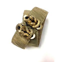 OSCAR DE LA RENTA Bronze Ruched Silk Lame & Leather Knotted Closure Waist Belt