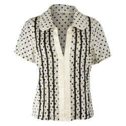 Marc Jacobs Top Black / Bone Polka Dot Silk 12