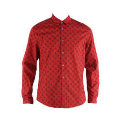 Gucci Red Printed Cotton Collared Shirt Men's Sz 41 / 16