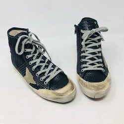 Golden Goose 37 Black Sequin High Top Star Distressed Sneakers 2400-529-1720