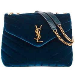 New Ysl Blue Velvet Small Loulou Bag