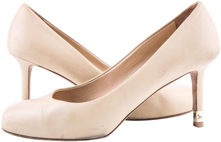 Chanel Taupe Pumps Neutral Size 9 Authenticity Guaranteed