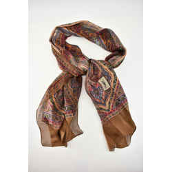 "ST. LAURENT-YSL: Browns/Multicolor, 100% Silk, Long Scarf/Foulard 74"" x 23"" (pv)"