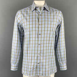 ERMENEGILDO ZEGNA Size L Blue & Olive Plaid Cotton Button Up Long Sleeve Shirt