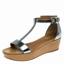 Tod's Metallic Silver Leather T-Strap Wedge Platform Ankle Strap Sandals Size...