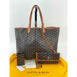 Goyard St.Louis PM Tote Bag Black Canvas W/Pochette & Key Chain Wallet B189