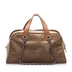Brown Chanel CC Lambskin Leather Satchel Bag