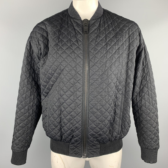 Calvin Klein Collection Size 42 Black Quilted Nylon Zip Up Jacket