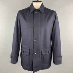 Navy Pinstripe Wool Zip & Buttons Coat