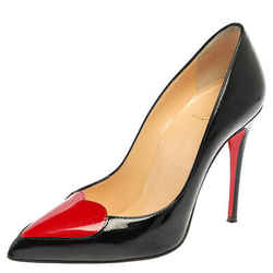 Christian Louboutin Black Patent Leather Doracora Red Heart Pumps Size 35