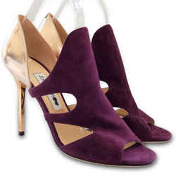 NEW $976 JIMMY CHOO Tarine Suede Cutout Bootie Heels - Gold, Purple - Size 38