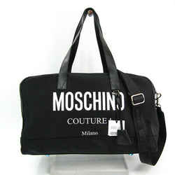 Moschino Logo A90028201 Unisex Leather,nylon Canvas Boston Bag Black,wh Bf513838