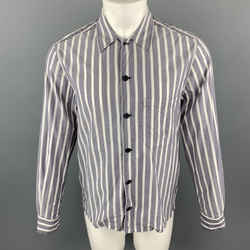 Joseph Size S Grey & White Stripe Cotton Long Sleeve Shirt