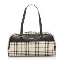 Vintage Authentic Burberry Brown House Check Canvas Shoulder Bag United Kingdom