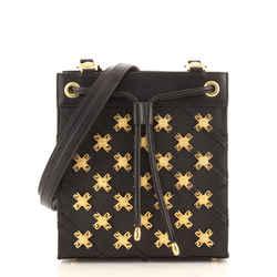 Vintage Medusa Drawsting Shoulder Bag Embellished Leather Small