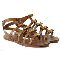 Nib Tory Burch Kira Flat Leather Sandal, Brown 8 Display