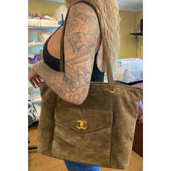 Chanel Large Khaki Brown Suede Turnlock Tote 860569