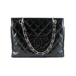 Chanel Ptt Black Patent Petite Timeless Shopping Tote Bag Purse