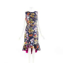 Oscar de la Renta Dress Multicolor Floral Print Sleeveless Mermaid SZ 8