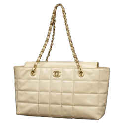 Ivory Quilted Chocolate Bar Chain Tote 231369