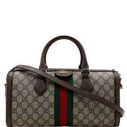 GUCCI  Ophidia GG Canvas Medium Top Handle Shoulder Bag Beige 524532