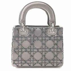 Auth Christian Dior Lady Satin Canage Mini Handbag Gray