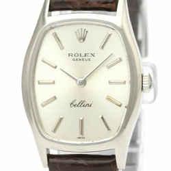 Vintage ROLEX Cellini 18KWhite Gold Hand-Winding Ladies Watch 3803 BF528359