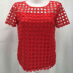 Tory Burch Red Eyelet Blouse XS