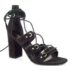 Nib Saint Laurent Babies Cage Lace Up Sandals Sz 38 Black Suede Heels Ysl $895