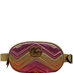 GUCCI  GG Marmont Matelasse Metallic Calfskin Leather Belt Bag Gold Pink 476434