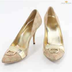 Gucci Beige Gg Canvas And Metallic Gold Leather Pumps