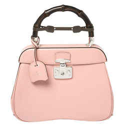 Gucci Pink Smooth Leather Lady Lock Bamboo Top Handle Bag