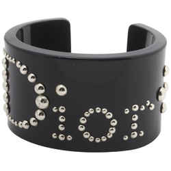 Christian Dior Black Studded Logo Cuff Bracelet Bangle 861936