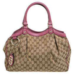 Gucci Beige/Pink GG Canvas and Leather Medium Sukey Tote