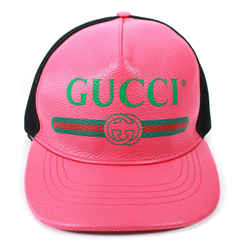Gucci - New - Pink Leather Baseball Hat - Mesh Fabric Trucker - One Size