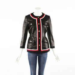 Gucci Black Leather Web Tiger Head Buttoned Jacket SZ 40