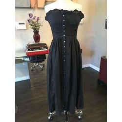 Ralph Lauren Black Linen Strapless Button Front Summer Dress - 2217-31-72319